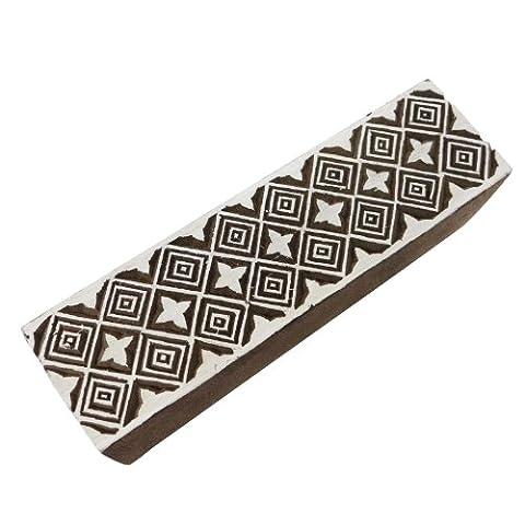 Rechteck-Form-hölzerner Block-Hand geschnitzte Stempel geometrisches Design Dekorative