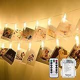 Tobbiheim LED Foto Clips Lichterkette Batteriebetrieben 40 LED 7 Meter Lang IP65 Wasserdicht Stimmungsbeleuchtung Außen und Innen 8 Modi & Fernbedienung für Weihnachten, Hochzeit, Party - Warmweiß