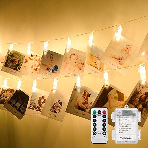 Tobbiheim LED Foto Clips Lichterkette Batteriebetrieben 40 LED 7 Meter Lang IP65 Wasserdicht Stimmungsbeleuchtung Außen und Innen 8 Modi & Fernbedienung für Weihnachten, Hochzeit, Party - Warmweiß -