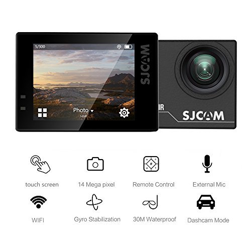 SJCAM SJ6 Legend Air 4K WIFI Action Camera 14MP with 2.0 HD Touchscreen/170 Degree Wide Angel/ Gyro Stabilization/ External Microphone/Remote Control Waterproof Underwater Camera for Diving Helmet Black