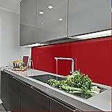 KeraBad Küchenrückwand Küchenspiegel Wandverkleidung Fliesenverkleidung Fliesenspiegel aus Aluverbund Küche Purpurrot glanz/matt 60x220cm