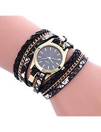 Vovotrade estilo bohemio de estilo tejido pulsera de cuero mujer reloj de pulsera (Negro)