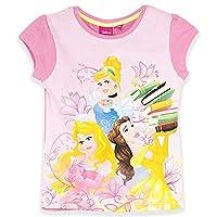 Official Disney Princess Girls Short Sleeve Top T-Shirt 100% Cotton Large Print - New 2017 - Pink 4