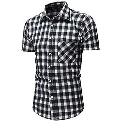 fad71d58ec3 LHWY Camisas Hombre Manga Camisa de Manga Corta con Botones Abajo a Cuadros  de Hombre Top
