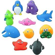 Bid Buy Direct® - 10 piezas de juguetes para bebés con diseño de animales de mar para aprender y divertirse, resistentes al moho y divertidos
