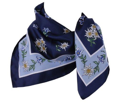Trachtentuch Halstuch Trachten Damen/Herren - fesches Trachtenhalstuch mit Edelweiß - Blau