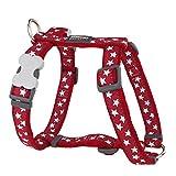 Red Dingo Hundegeschirr, Muster Sterne, Größe S, 1,5cm breit, Weiß/Rot