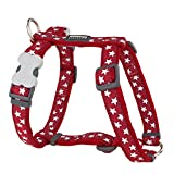 Red Dingo Hundegeschirr, Größe L, 25mm breit, Halsumfang 46-76cm, Körper 56-80cm, Rot/weiße Sterne