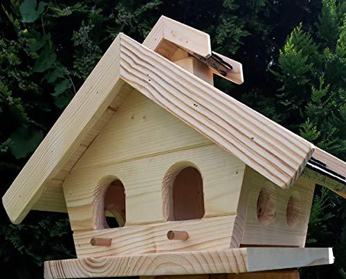 Vogelhaus-XL Schwarz- Vogelhäuser-Vogelfutterhaus Vogelhäuschen-aus Holz Wetterschutz Putzklappe - 5