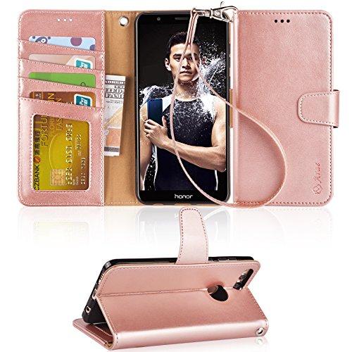 Arae Huawei Honor 7X Hülle, Handyhülle Honor 7X Tasche Leder Flip Cover Brieftasche Etui Schutzhülle für Huawei Honor 7X - Roségold