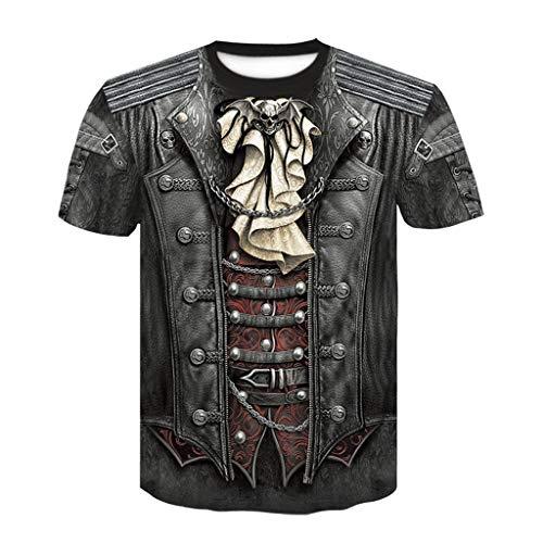 cinnamou Herren Gothic T-Shirt Steampunk Shirt Männer Lustiges Top 3D Grafik Drucken Ärmellose Bedrucktes Kurzarm-T-Shirt
