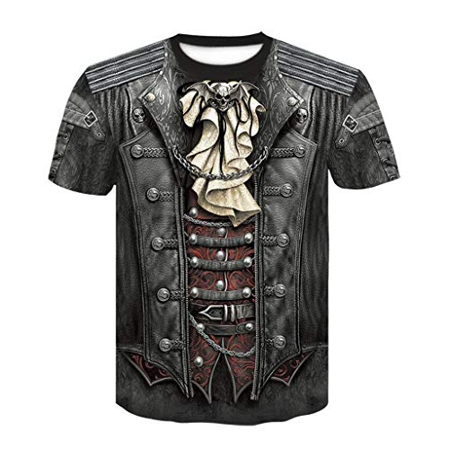 Goth Wrap T-Shirt schwarz Dasongff 3D Druck Kurzarmshirt Fasching Karneval Kostüm -