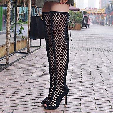 LvYuan Da donna-Sandali-Formale Casual Serata e festa-Altro-A stiletto-Felpato-Nero Marrone Rosso Grigio Black