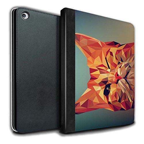 Stuff4® PU-Leder Hülle/Case/Brieftasche für Apple iPad Air 2 Tablet/Rote Katze Muster/Geometrisches Tier Tierwelt Kollektion