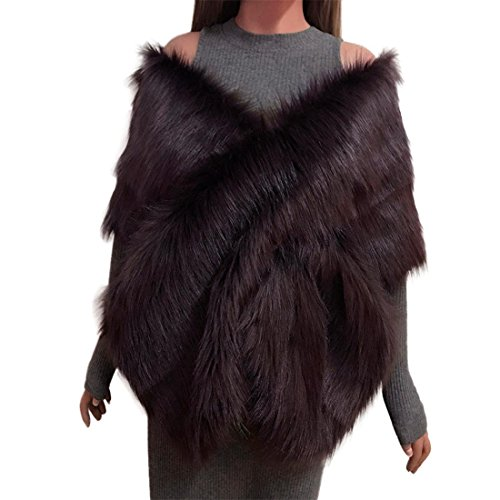Faux Fox Fur Shrug Scarf For Ladies ,Moonuy Womens Girl Beauty Long Shawl Stole Wrap Fashion Casual Solid Elegant Autumn Winter Shrug Scarf Bridal Wedding Cape Business Fanon (Coffee)