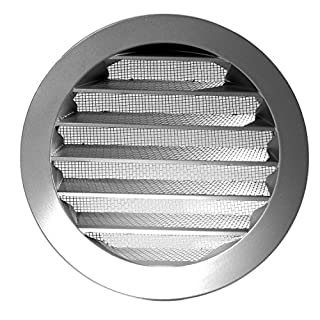 Klimapartner WSGG 100 - Silver Grey Round Fixed Louvre Air Vent Grille Insect Screen