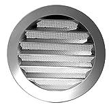Klimapartner WSGG 80 - Grille de Ventilation Ronde Plate Argentée Avec Moustiquaire