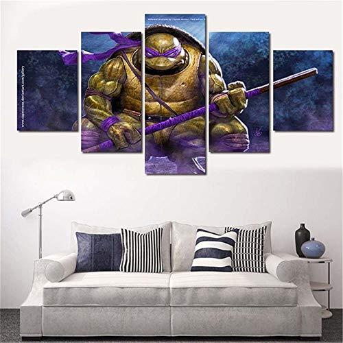 Leinwandbild Kunstdruck modern Wandbilder Wanddekoration Design Wand Bild 5 Teilig Teenage Mutant Ninja Turtle 100/80/60x40(cm) with Frames ()