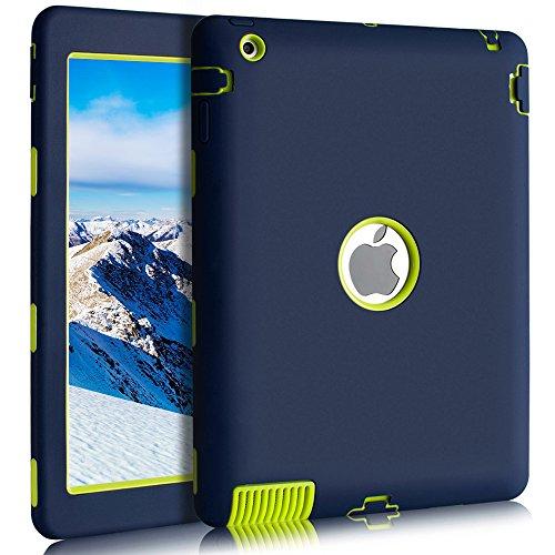 BENTOBEN iPad 2 Hülle iPad 3 Hülle iPad 4 Hülle, iPad 2 3 4 Schutzhülle stoßfest Hybrid PC Silikon Cover robust Tasche Hülle für iPad 2 3 4 Dunkelblau 3. Generation Gummi
