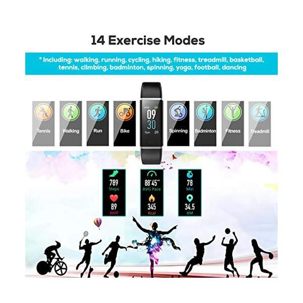 CHEREEKI Pulsera Actividad, Pulsera de Actividad Inteligente Frecuencia Cardíaca Monitor, IP68 Impermeable Pantalla… 4