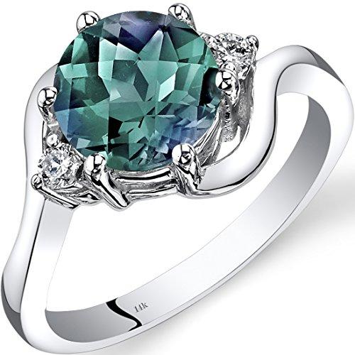 Revoni 14ct White Gold Created Alexandrite Diamond 3 Stone Ring 2.25 Carat