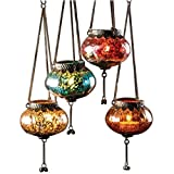 Lanterna da appendere in stile marocchino, stile classico vintage turco per interni ed esterni, lanterna in vetro argentato, portacandele per decorazioni per la casa, Silver, Small (9x7.5cm)