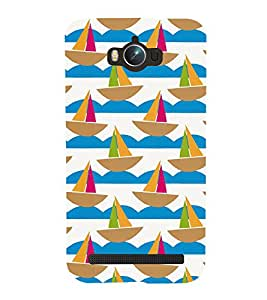 GEOMMETRICAL BOATS FLOATING IN WAVES OF WATER 3D Hard Polycarbonate Designer Back Case Cover for Asus Zenfone Max :: Asus Zenfone Max ZC550KL