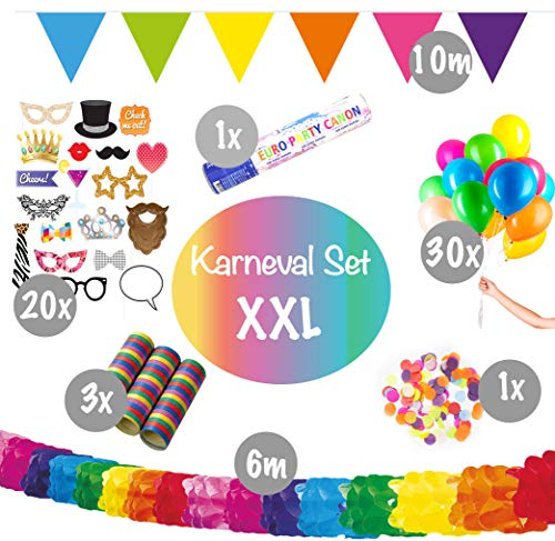 L+H Karneval Dekoration Party Set XXL Party | über 55 Teile in Premium Qualität | Fotorequisiten Girlanden Tischkonfetti Partykanone Luftschlangen Luftballons | Kinder Geburtstag Deko Fasching