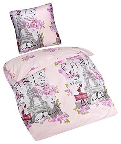 Aminata – Vintage Bettwäsche 135x200 cm Baumwolle + Reißverschluss Paris Eifelturm Frankreich rosa Bettbezug Rosen Blumen Herzen Mädchen 2-teiliges Bettwäscheset Pink Bezug Ganzjahr (Französisch Stil Bett)