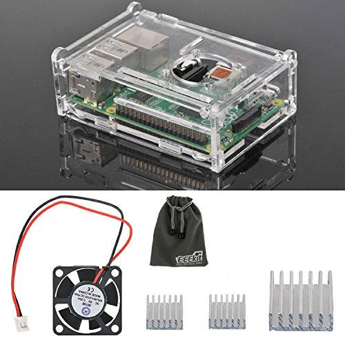 Crystal, Custodia rigida, set di 3 dissipatori di calore in alluminio per Raspberry Pi, modello B 3, ventola di raffreddamento per EEEKit Starter Kit 2 in 1