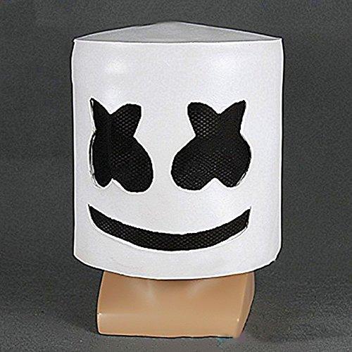 Ballylelly Trendy Design Halloween Party Night Club Latex White Mask Adult DJ Mask Cosplay Costume Helmet