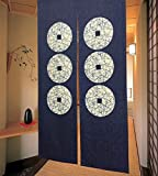 LIGICKY Cortina de puerta estilo japonés, estilo noren, 6 monedas, diseño de tapiz, para...