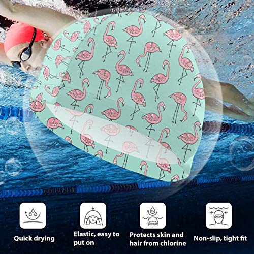 Kids Swimming Cap Flamingos Mint Green Smaller Inch Small Tiny Silicone Waterproof Swim Cap Bathing Hair Quick Drying for Kids