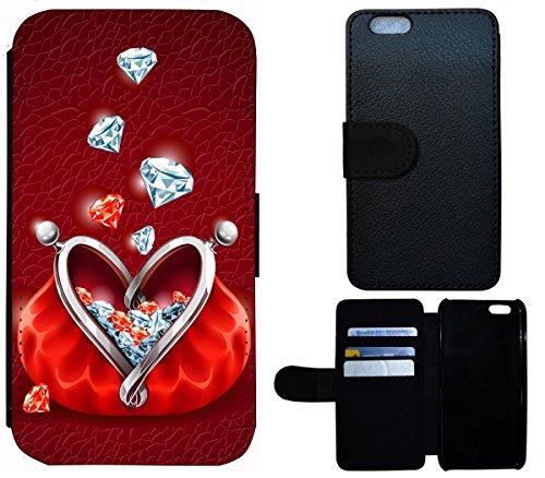 Flip Cover Schutz Hülle Handy Tasche Etui Case für (Apple iPhone 5 / 5s, 1560 Gitarre Abstract Schwarz Rot Gelb) 1559 Edelsteine Etui Rot Diamanten