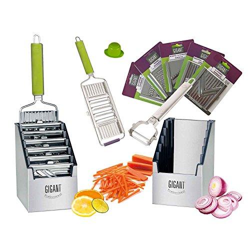 Muxel Gemüse-Hobel (Vierfachhobel) Mega-Set mit 5 zusätzlichen Einsätzen in der praktischen Multi-Box, grün -