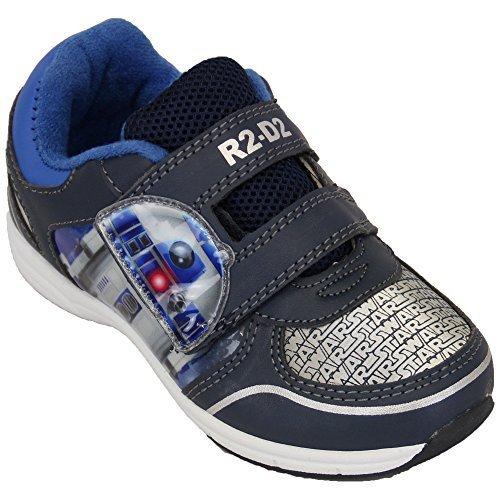Despicable Me Baskets Garçon Minion Star Wars Chaussures À Velcro Enfants Bello Pompes Neuves - Marine/Bleu/Argent - STASARV, UK 10/EU 28 - Pre School