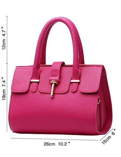 Menschwear Leather Tote Bag lucida PU nuove signore borsa a tracolla Nero Rosa 1