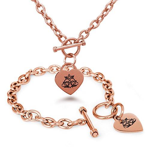 Placcato Oro Rosa Acciaio Inossidabile simbolo Claddagh Fascino Cuore, Bracciale Collana Impostato