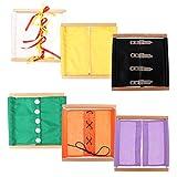 FITYLE Set Di 6pcs Montessori Cornici Di Abito Staccare Distacare Botton Diversi Pin Cravatta Zip Fibbia Pulsante