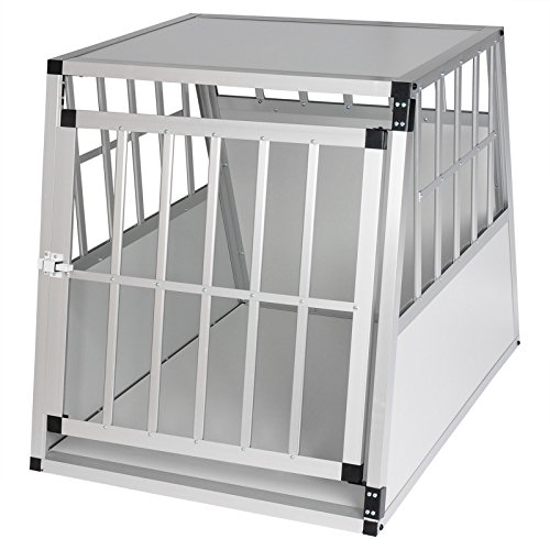 Hundebox Hundetransportbox Aluminium Transportbox Alubox Hund 1 Türig Reisebox Gitterbox Weiss HT2011ws