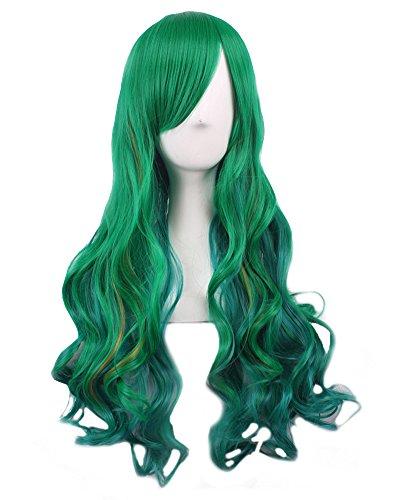en Lolita Langhaar Perücke Regenbogen Bunt hochwertige Perücke 70 cm zum Halloween (Grün) ()