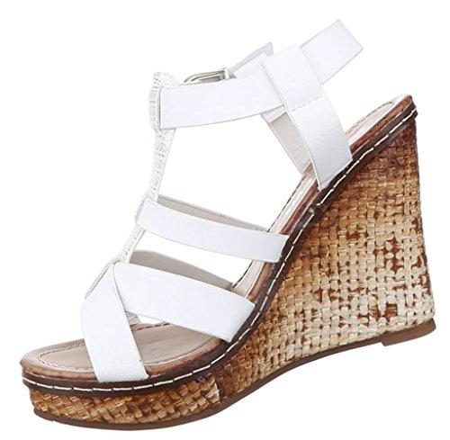 Damen Sandaletten Schuhe Keilabsatz Pumps Plateau Schwarz Braun Weiss 36 37 38 39 40 41 Weiß