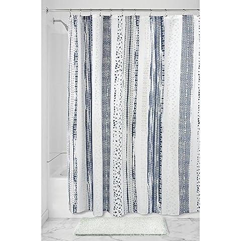 InterDesign Geometric Multi Stripe Textil Duschvorhang | pflegeleichte Duschabtrennung für Badewanne und Duschwanne | 183 cm x 183 cm Vorhang aus Stoff | Polyester blau/grau