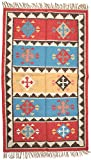 Exotic India Multicolor Handloom Dhurrie from Sitapur with Woven Kilim Motifs - Pure Wool