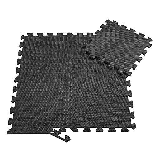 samax tappeto da fitness a puzzle set - 18 pezzi eva tappetini per pavimento per workout ginnastica esercizi sala giochi garage in nero