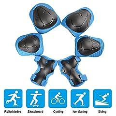 Idea Regalo - Set di Ginocchiere per Bambini, JIM'S STORE Set di 2x gomitiere, 2x polsiere e 2x ginocchiere protettive per bambini per pattini,Hoverboard, Scooter(Blu)