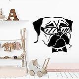 wukongsun New Bulldog Wandaufkleber PVC Wandkunst Aufkleber Moderne Mode Wandaufkleber für Kinderzimmer Kinderzimmer Dekorieren Schlafzimmer Schwarz L 42 cm X 47 cm