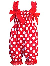 SODIAL(R) Newborn Infant Baby Girl Red background white spots Ruffle Rompers Dress One-Piece On Tutu Lace Bust 32-56cm length 50cm.