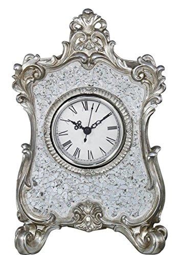 Filigree Silver Sparkle Mosaic Table Mantle Clock Roman Numerals 27 cm