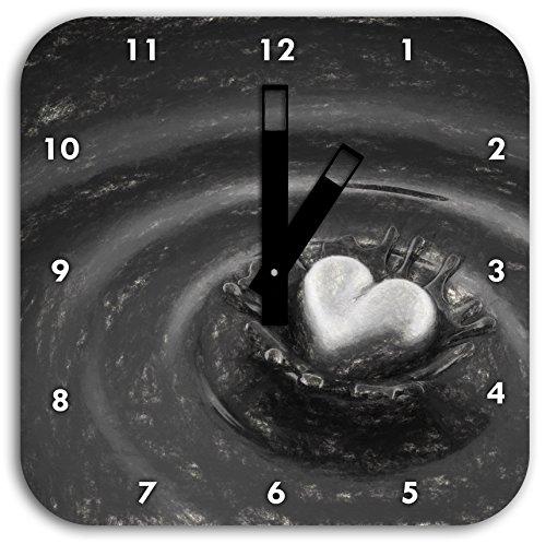 n Schokolade Kohle Effekt, Wanduhr Quadratisch Durchmesser 28cm mit schwarzen eckigen Zeigern und Ziffernblatt ()